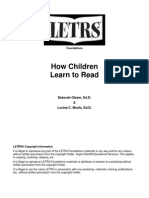 Week 1 - How Children Learn to Read
