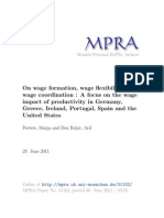 Peeters, Marga and Den Reijer [Mpra] 2011_paper, On Wage Formation, Wage Flexibility and Wage Coordination a Focus on the Wage Impact of Productivity in Germany, Ireland, Portugal, Spain and the United States