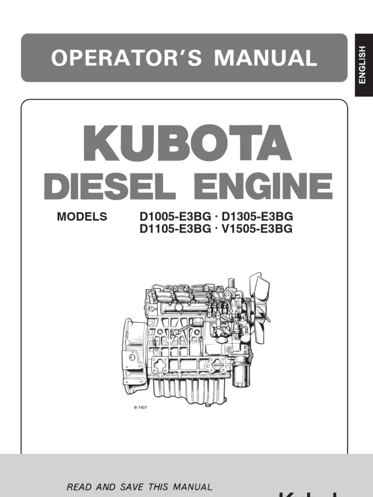 usuario kubota 1105 diesel fuel radiator rh scribd com Kubota V1505 Specifications Kubota V1505 Parts List