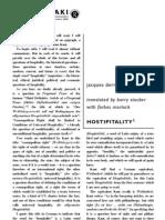 Derrida - Hostipitality