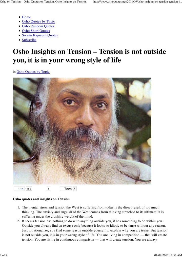 Osho On Tension Osho Quotes On Tension Osho Insights On Tension