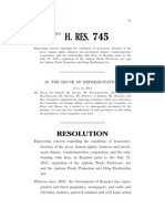 RESOLUTION  Expressing concern regarding the conditions of democracy,  freedom of the press, human rights, business and investment climate, counternarcotics cooperation, and the relationship with Iran, in Ecuador