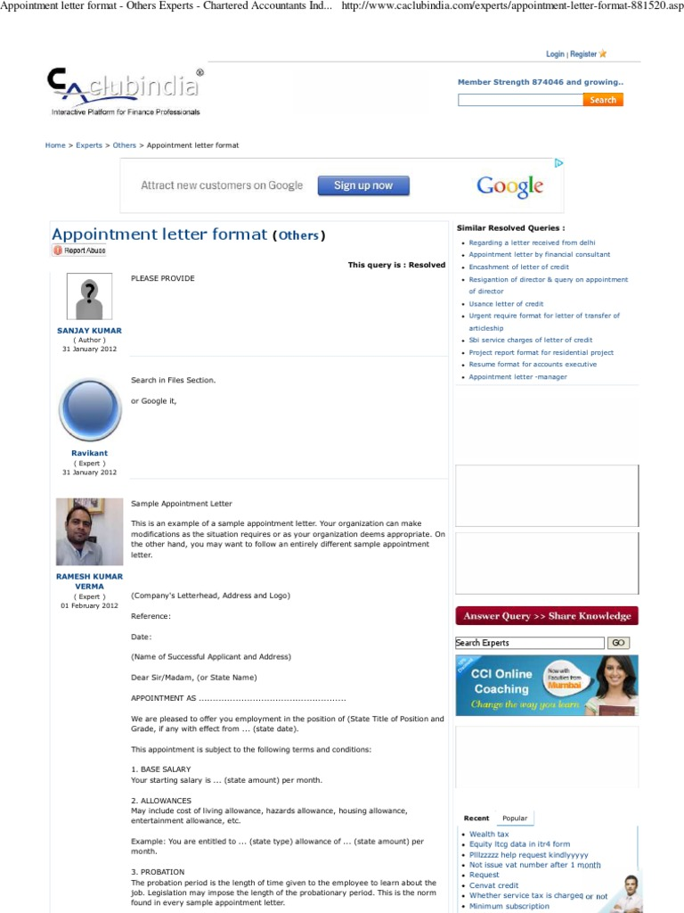 Appointment letter format facebook working time altavistaventures