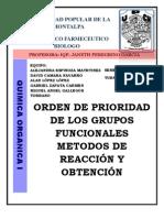 Grupos Funcionales Por Orden de Prioridad, Reaccion y Obtencion.