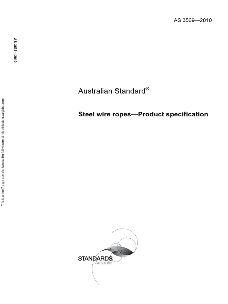 As 3569-2010 Steel Wire Ropes - Product Specification   Rope   Wire