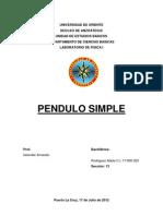Informe de Laboratorio de Fisica Pendulo Simple