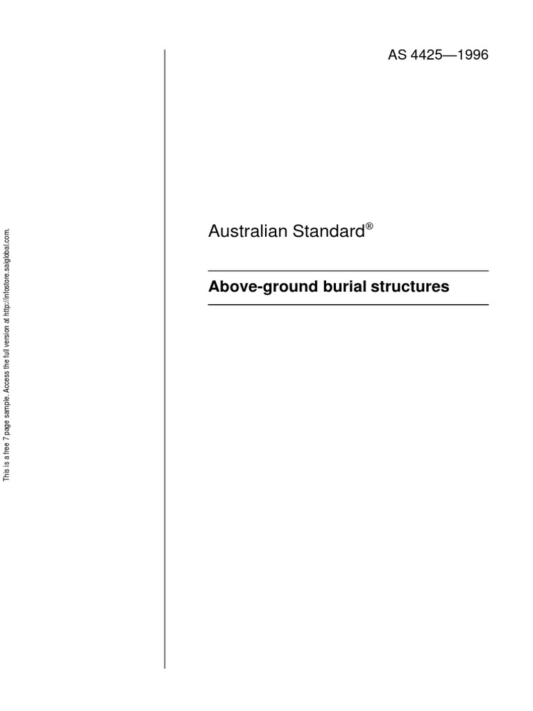 As 4425 1996 Above Ground Burial Structures Structural