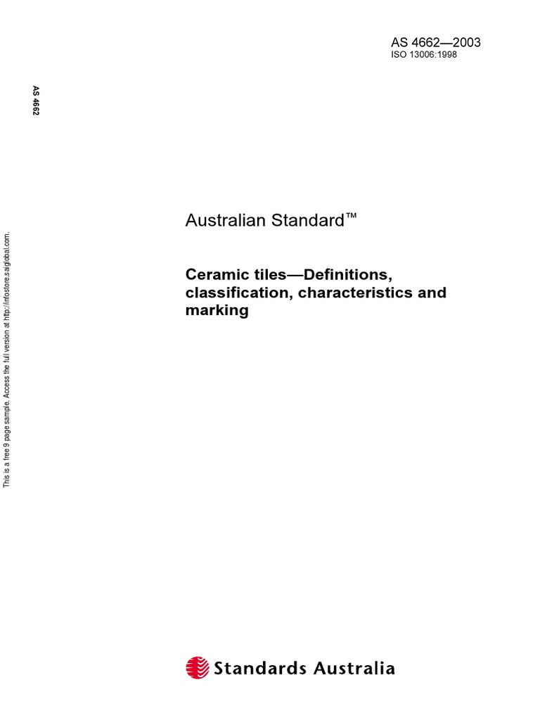 As 4662 2003 Ceramic Tiles Definitions Classification