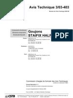 3. Goujons Staifix-halfen