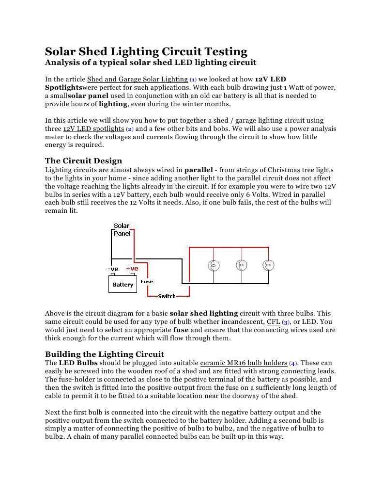 Shed Lighting Wiring Diagram Schematics Electrical Solar Circuit Testing Series And Parallel Circuits Two Phase Power