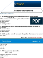 Real Number Worksheets