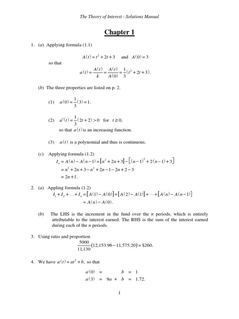 Theory of Interest-Stephen Kellison-Solutions Manual | Quadratic Equation |  Present Value