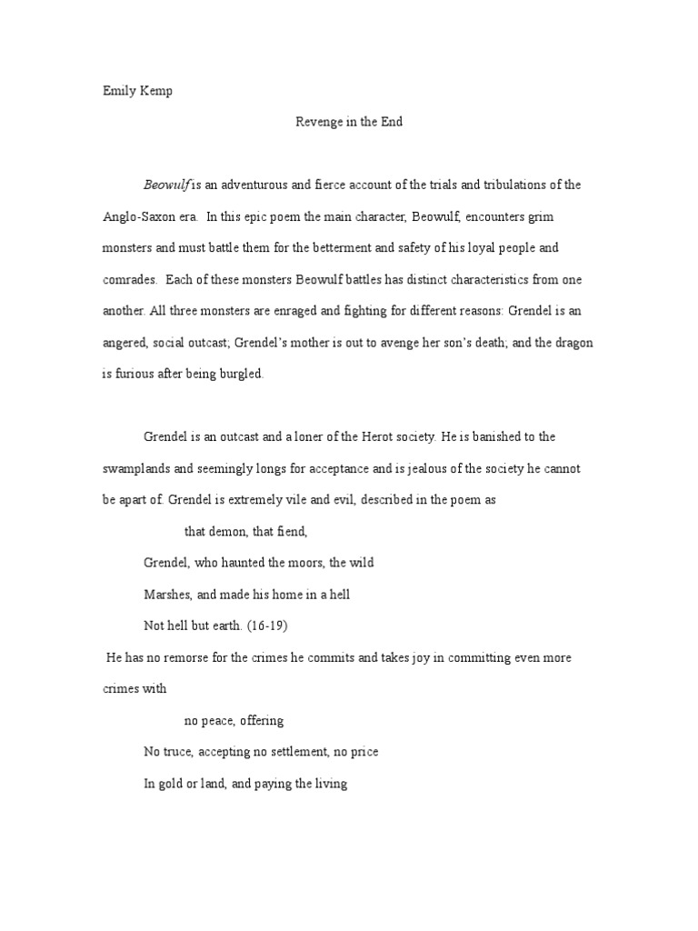 essay on beowulf grendel  characteristics of beowulf and grendel essays