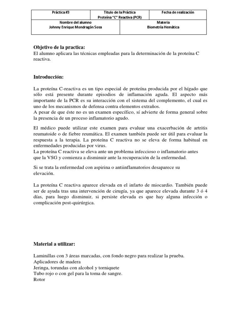 determinación cualitativa de proteína c-reactiva (pcr) pdf