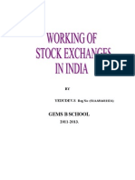 FINANCE PROJECTS Working of Stock Exchanges