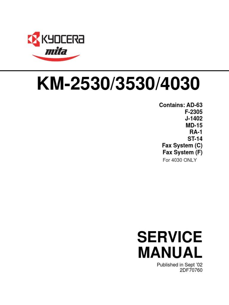 kyocera mita km 2530 km3530 km 4030 service manual photocopier rh scribd com