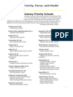 Preliminary Priority Focus and Model Schools List
