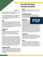 2012-2013 Third Grade Curriculum Description