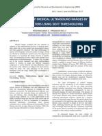 IJRDE - Despeckling of Medical Ultrasound Images by Wavelet Filters Using Soft Thresholding