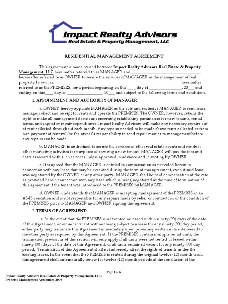 Ira Updated Property Management Agreement 10 Rev 2011 Lease