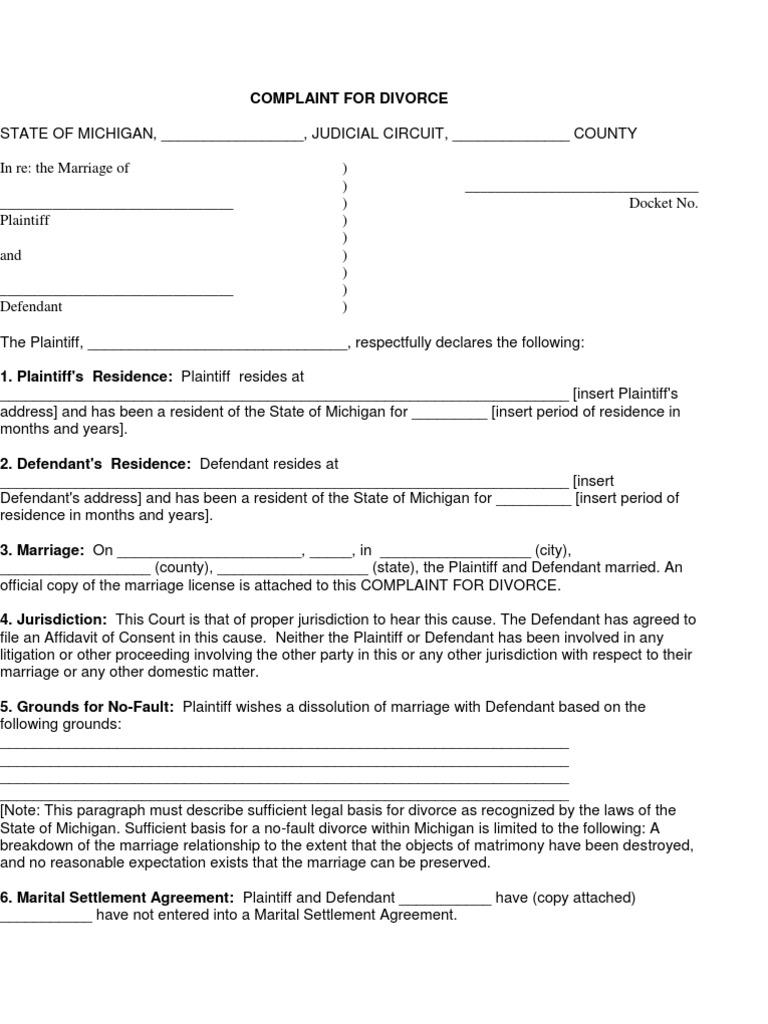 Complaint for Divorce   Divorce   Affidavit