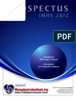IMHS Metaphysics PhD Degree Prospectus