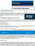 Quadratic Factoring Calculator
