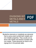 Divisions Into Metals and Non-metals