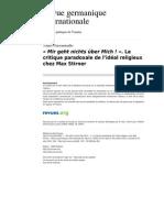 Rgi 384 8 Mir Geht Nichts Uber Mich La Critique Paradoxale de l Ideal Religieux Chez Max Stirner