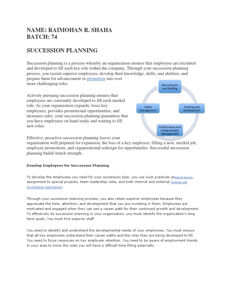 Succession Planning | Succession Planning | Employment