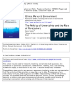 Taddei_2012_The Politics of Uncertainty and the Fate of Forecasters_EPE