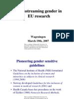 Mainstreaming Gender Eu Research