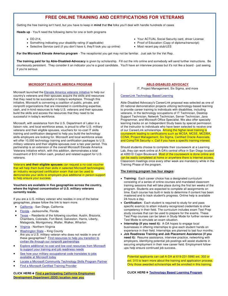 Free Training For Veterans Internship Professional Certification