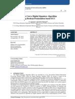 Elliptic Curve Digital Signature Algorithm  Using Boolean Permutation based ECC