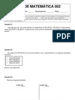 Teste de matemática 002