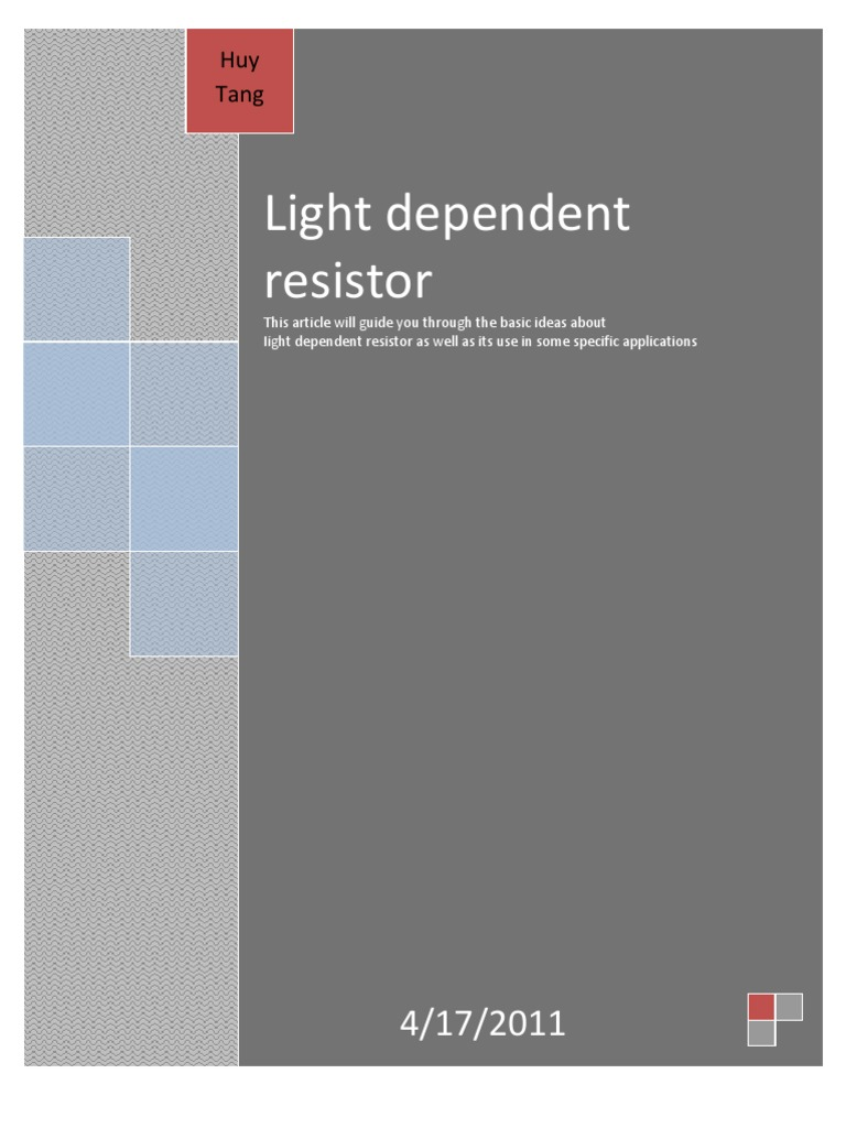 What Is Light Dependent Resistor Transistor Sensor That Means Must Shine Into The Ldr For Circuit