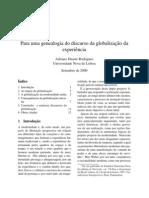 Para uma genealogia do discurso da globalização da experiência