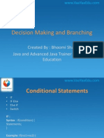 Decision Making and Branching in Java and Advanced Java