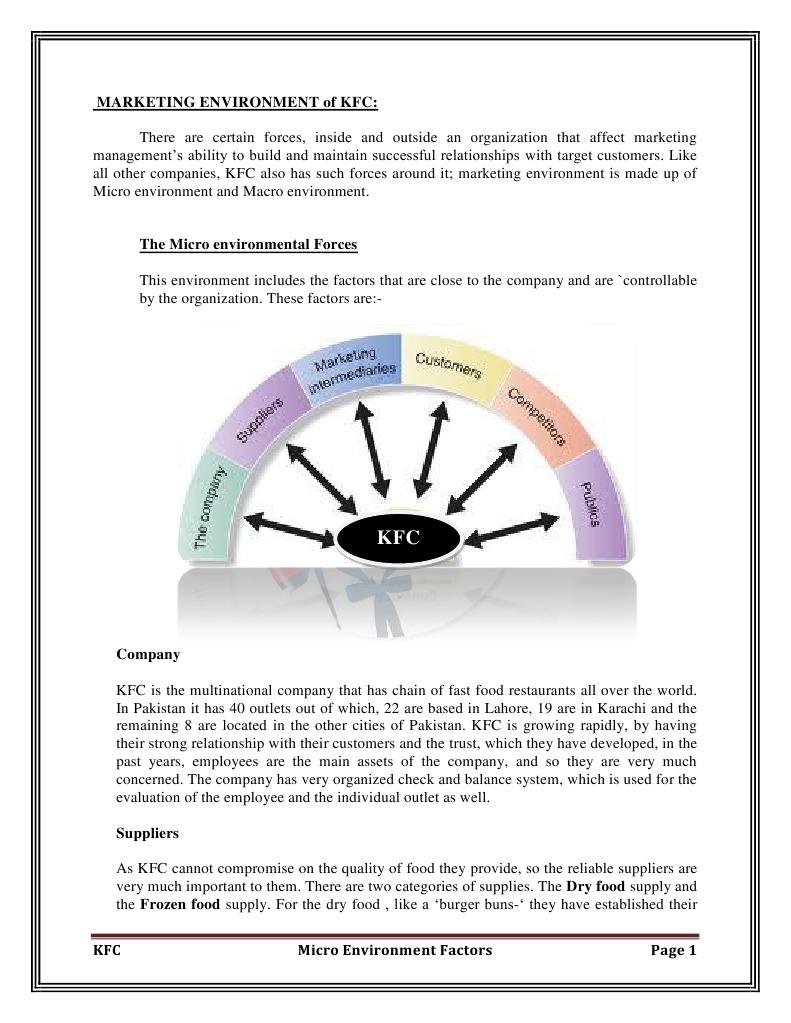marketing environment kfc marketing employment