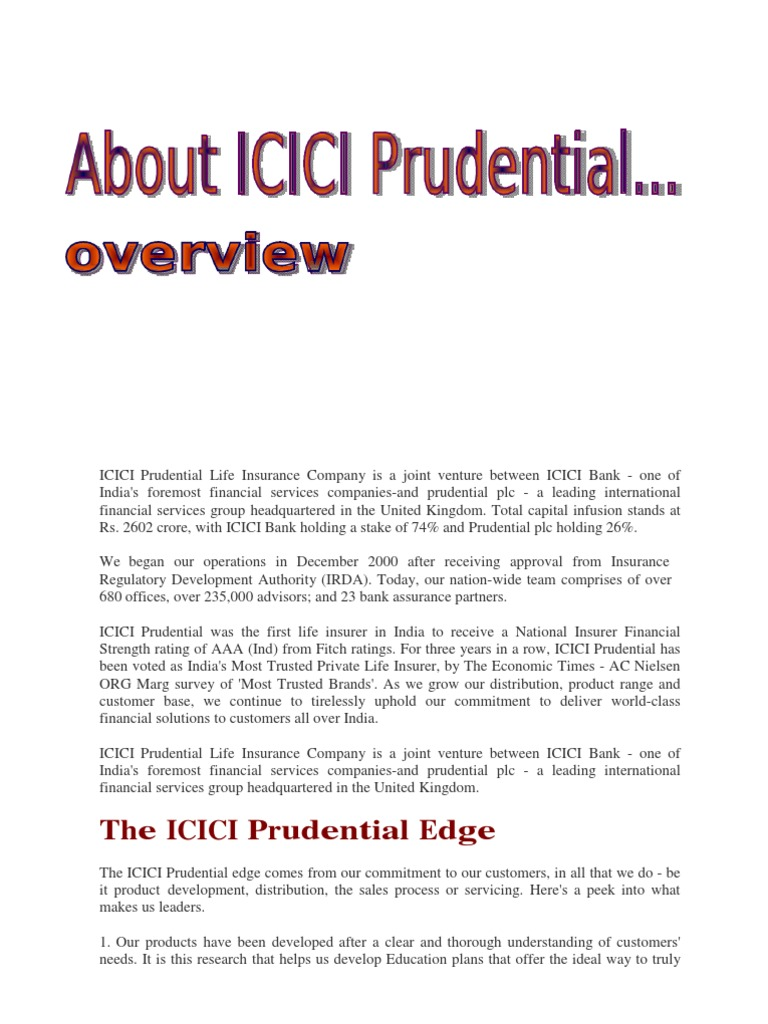 Icici Prudential Life Insurance Company Is A Joint Venture Between