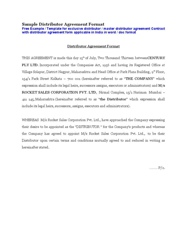 Sample distributor agreement format payments arbitration platinumwayz