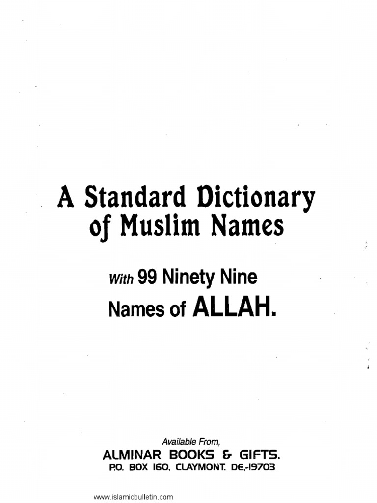 claymont muslim With 99 ninety nine names of allah available from, alminar books & gifts po box 160 claymont, de,-19703a dictionary of muslim names - mommytracked .