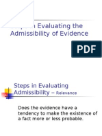 Steps in Evaluating the Admissibility of Evidence
