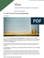 A Crash Course in Creative Breakthroughs