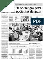 Solo hay 130 oncólogos para los 80 mil pacientes del país