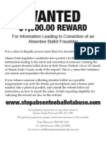 Absentee Ballot Fraud Reward