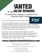 Absentee Ballot Fraud Reward
