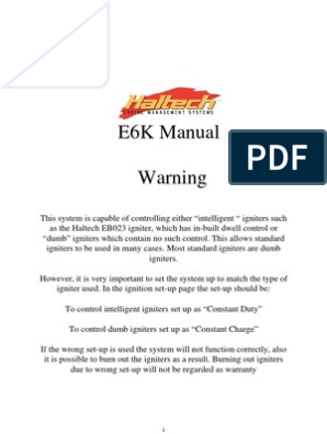 E6KManual | Fuel Injection | Ignition System on