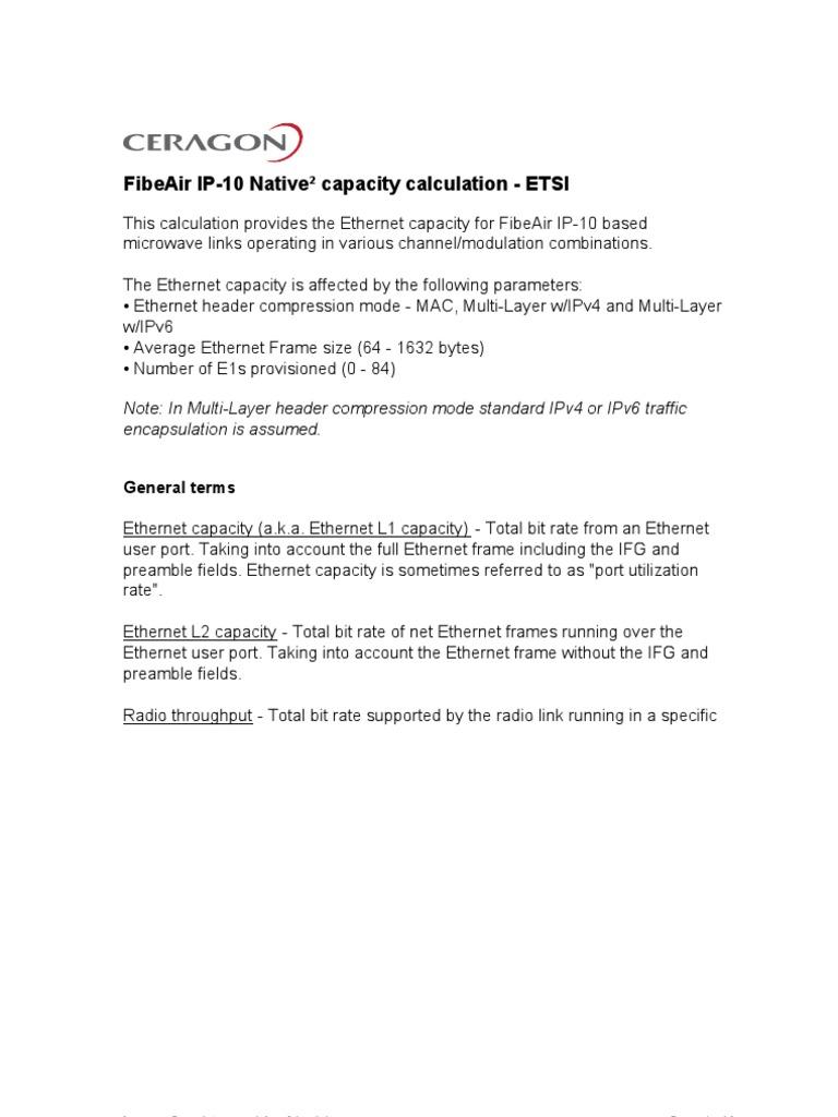 IP-10 G(R3) Capacity Calculator for ETSI   Bit Rate   Ethernet