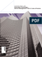 As ISO IEC 20000.2-2007 Information Technology - Service Management Code of Practice